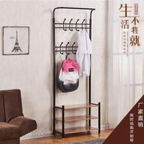 Wrought iron coat rack living room row hook hanger dress shoe stool bedroom floor wall cabinet