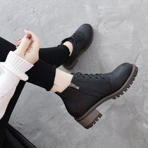 British style retro rough heel boots female Autumn winter strap with Martin Boots students hundred chic short boots