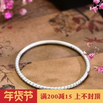 999 foot silver ancient Heart Sutra bracelet safe body men and women handmade Thai silver retro solid bracelet