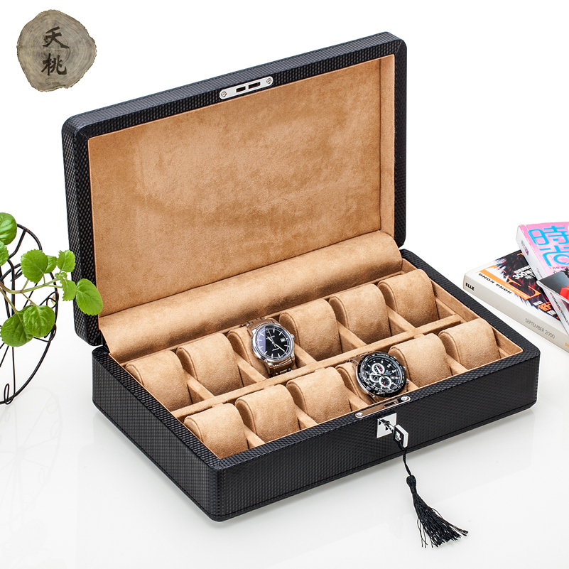 Die peach carbon fiber leather watch box wooden mechanical watch display box collection containing box lock business gifts.
