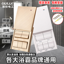 Special 86 type Five open 5 open five 16A high power bath bully switch Bathroom warm universal belt waterproof sliding cover