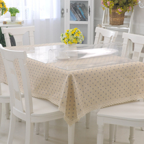 (Set) bamboo Moon Pavilion soft glass cotton linen style tablecloth dual-use crystal plate tablecloth coffee table mat