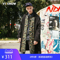 VIISHOW Winter new windbreaker mens camouflage Tide brand jacket collar long section wool coat