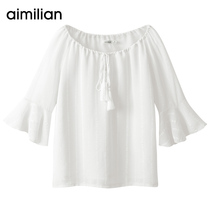Amy love white chiffon shirt female short-sleeved summer very fairy shirt trumpet sleeve shoulder sweet foreign small shirt