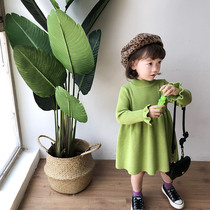 Girls knit dress 2019 new autumn baby solid color wool skirt children princess dress super Western