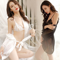 Sexy lingerie Three-point erotic passion set Perspective maid uniform Pajamas cream free of midnight charm