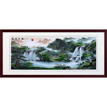 Su embroidery finished painting Landscape living room pure hand-embroidered Chinese large villa club painting sunrise Dongsheng