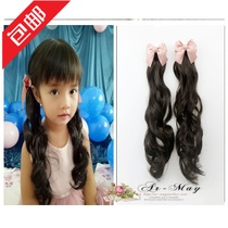 Daughter children curly hair headdress bow children wig natural long ponytail student bow hairpin