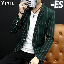 Mens Inverness casual suit hairdresser striped skinny small suit trendy handsome top Korean edition spring coat