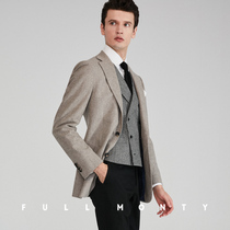5d78525cb3e FULL MONTY imported VBC flannel brown gray wool single West business casual  slim suit jacket
