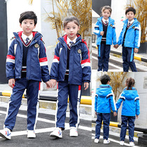 Kindergarten clothing new autumn and winter suit pupils school uniforms plus velvet thick three-in-one Jackets childrens clothing