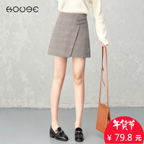 Plaid Skirt Female Winter 2018 new high waist A skirt thousand birds extra wear woolen skirt autumn and winter skirt