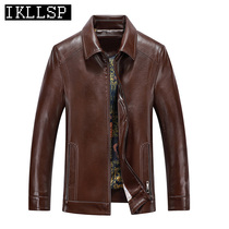 IKLLSP lapel leather leather mens surface sheep skin jacket plus velvet middle-aged business autumn and winter jacket men