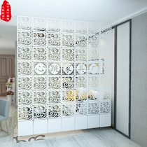 Living room folding double-sided carved screen curtain partition bedroom European and Korean style space-saving mobile hanging screen entrance