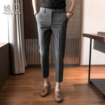 Hanging-in-the-west trousermen slim mare small feet nine Korean version of mens business casual suit pants summer thin suit pants