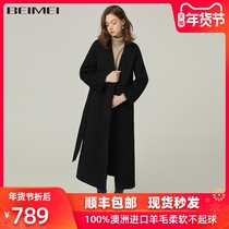 Black double-sided zero cashmere coat female long section 2019 autumn and Winter new Korean version loose high-end woolen coat