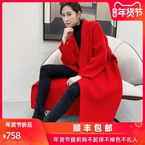 Big red double-sided cashmere coat female long section 2019 new autumn and winter high-end bridal wedding woolen coat