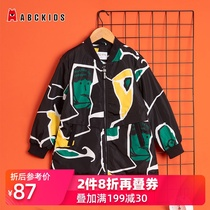 abckids childrens clothing in the autumn of the new childrens printing jacket boys woven windbreaker light sports shirt