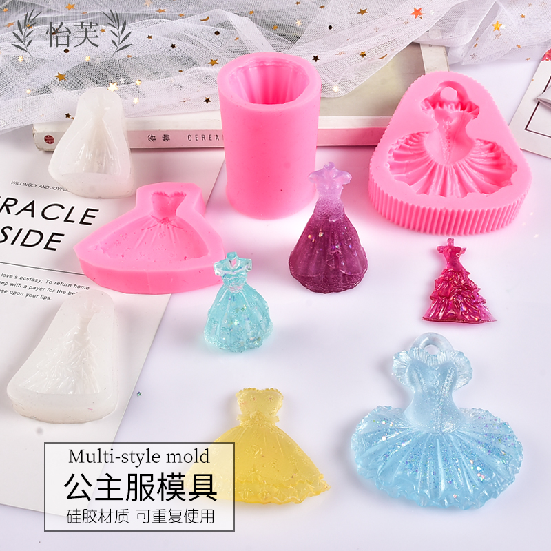 Yvonne crystal drop glue diy material mold princess dress mold high transparent silicone handmade princess dress mold.