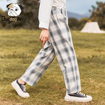 Girls casual pants glutton dog 2019 New incense children's clothing loose trousers retro plaid straight pants large children