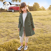 Girls in the long section of the windbreaker 2019 autumn new children's clothing Korean version of the children's casual spring and autumn coat in the Big child