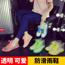 Jelly transparent anti-skid fashion rain boots waterproof shoes rubber shoes shoes female short barrel adult Korean cute summer