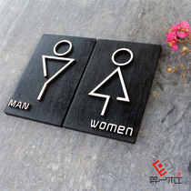 Creative wooden mens and womens bathroom signs signs House Inn hotel toilet sign