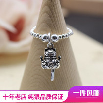 Kiki original s925 pure silver Thai silver cat price over one hundred million silver beads elastic ring handmade simple birthday gift