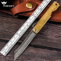 Wolf buckle Damascus steel fat guard Outdoor Knife folding knife knife knife blade