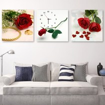 Triple combination Restaurant decoration painting modern simple hanging drawing room wall painting frameless painting art with clock table painting