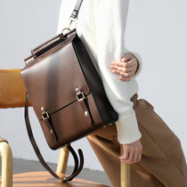 2019 New simple leather casual wild computer bag leather retro college British style backpack women