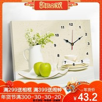 Meter box decorative painting Chinese with a clock block large size hanging painting ultra-thin sliding restaurant wall painting hook hanging