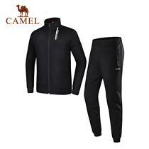 Camel outdoor clothing suit long-sleeved collar collar couple models simple and generous zipper sports and fitness two-piece suit