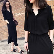 Dress female fat mm summer Korean version of the large size womens waist cover belly was thin small V-neck chiffon dress female