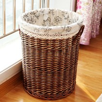 Large rattan blue Teng basket willow finishing box dirty clothing basket bamboo basket rattan box bamboo basket bamboo basket storage box has a cover cloth.