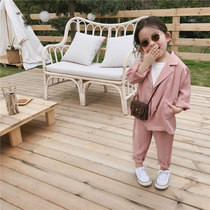 Spring 2019 New childrens Suit Suit girls chiffon Suit Suit 2-6 years old female baby suit