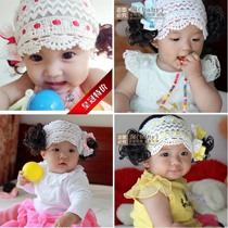 Korean version of the baby boy wig hair band baby bow headdress Summer Girls cotton 0-3-4-5-6 months 1-2 years old