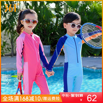 361 childrens one-piece swimsuit boys and Girls Children Baby Sunscreen long-sleeved diving suit trousers large children swimwear