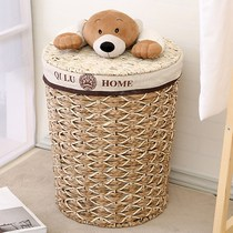 Straw dirty basket rattan Storage Storage Storage Basket hand-woven cloth covered toys storage bucket Laundry Home m