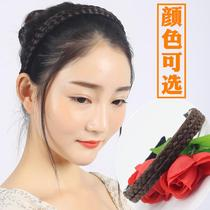 Wig female Braid Hair Card hemp Braid hair hoop wide anti-slip belt tooth Korean version fashion hair ring braid head Hoop