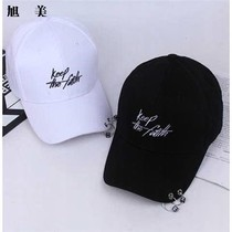 Hat male Summer cap cap letter with iron ring trend street shade black student baseball cap female Korean version