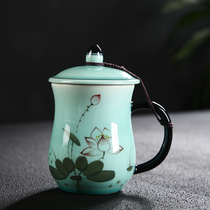All together Celadon hand-painted mug ceramic with lid filter cup office tea cup home readily Cup Cup