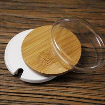 Universal mug lid thickened water cup lid bamboo lid glass cup lid large ceramic tea cup lid wooden lid with hole ring