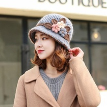 Knitted hat ladies autumn and winter woolen hat classic winter female hat flower plus velvet fisherman hat pot cap mom winter hat
