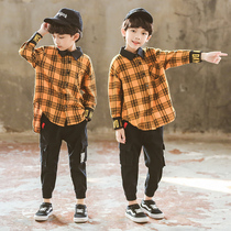 Boy long-sleeved plaid shirt 2019 spring dress new middle and Big boy children Korean version grinding cotton casual shirt tide