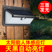 Sheng dillong solar light wall lamp human body sensor light three-side light 100led super bright waterproof outdoor wall lamp