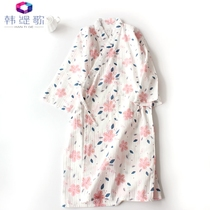 Cotton thin gauze kimono cotton men and women kimono bathrobe pajamas pajamas spring and summer with nightdress