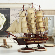 Mediterranean wooden sailing model ornaments solid wood simulation Craft boat bar decoration handmade gifts