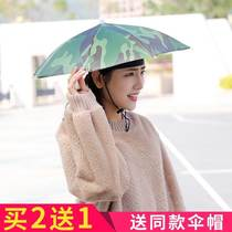 Umbrella middle-aged female anti-UV hats sun and rain dual-use head-mounted motorcycle double umbrella hat