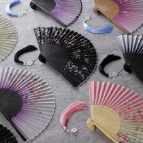 Han clothing fan ancient wind flow Su Zhi meng butterfly han suit fan children ancient wind folding fan Chinese wind folding fan summer girl
